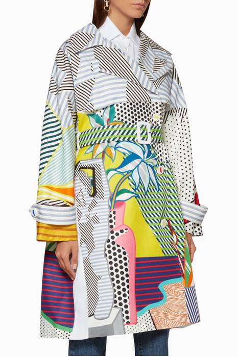 Multi-Coloured Printed Trench Coat