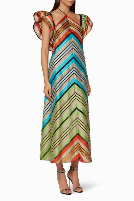 Multi-Coloured Striped Kahlo Dress