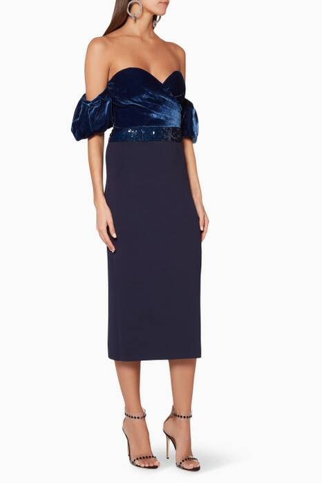 Dark-Blue Off-The-Shoulder Soto Midi Dress