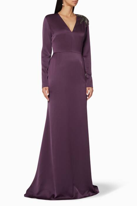 Purple Embellished Morrocon Gown