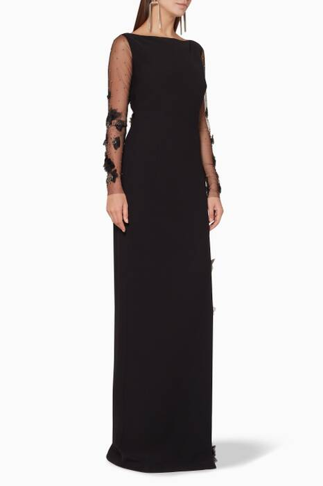 Black Embellished-Sleeve Gown