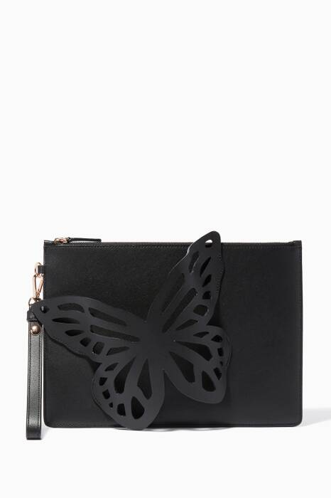 Black Flossy Butterfly Pouchette Bag