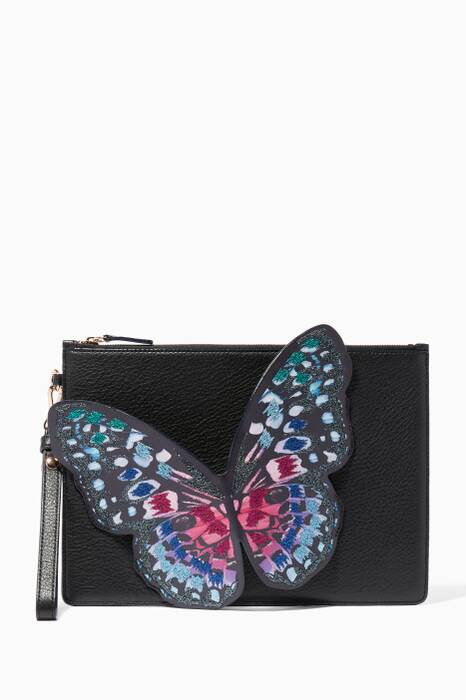 Black Flossy Butterfly Embroidered Pouchette Bag