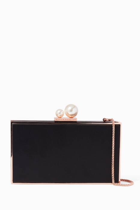 Black Satin Clara Box Clutch
