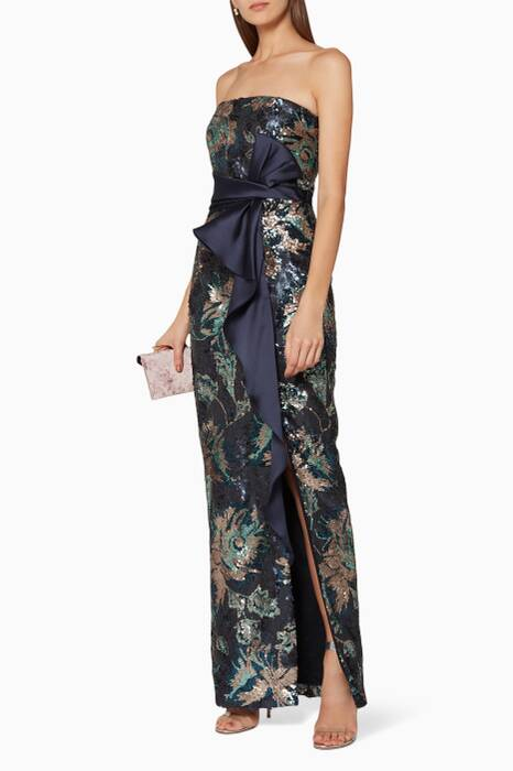 Navy Sequin-Peony Draped Gown