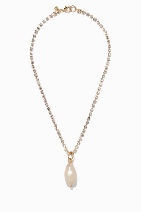 Yellow-Gold Rhinestone Pearl Necklace