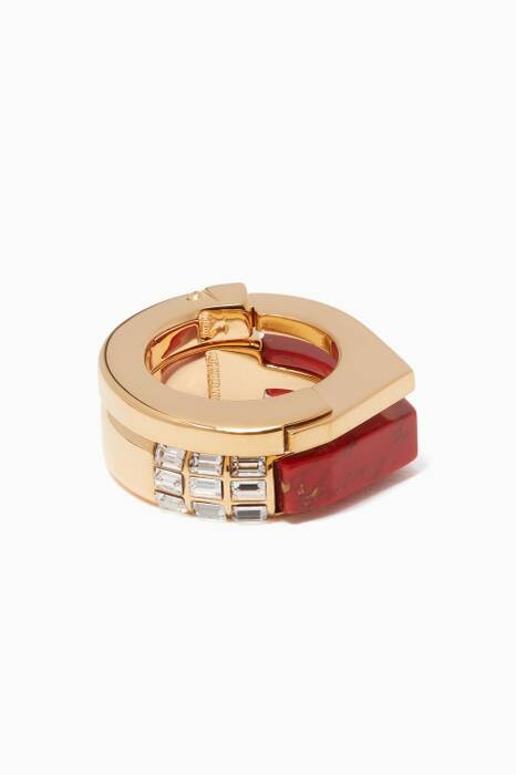 Red Marble Stackable Rings