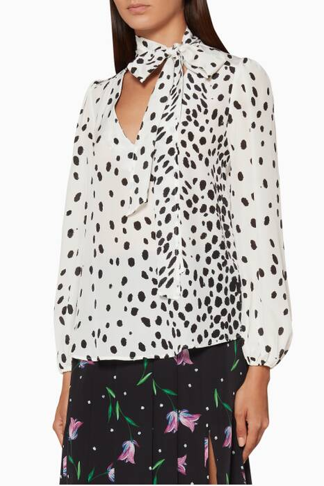White & Black Leopard-Print Moss Top