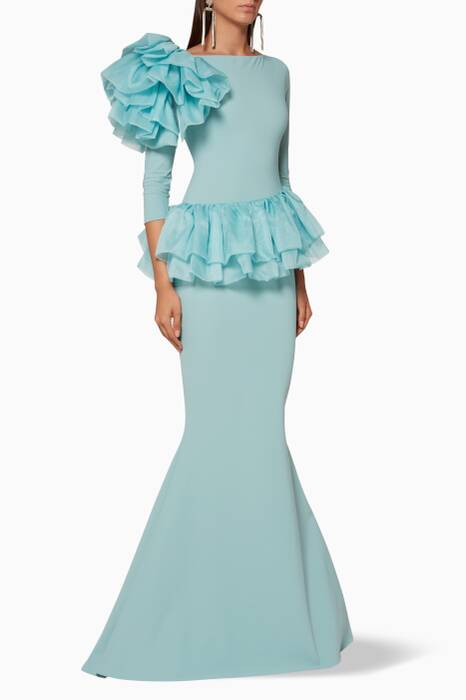 Light-Blue Organza-Ruffle Glanys Gown