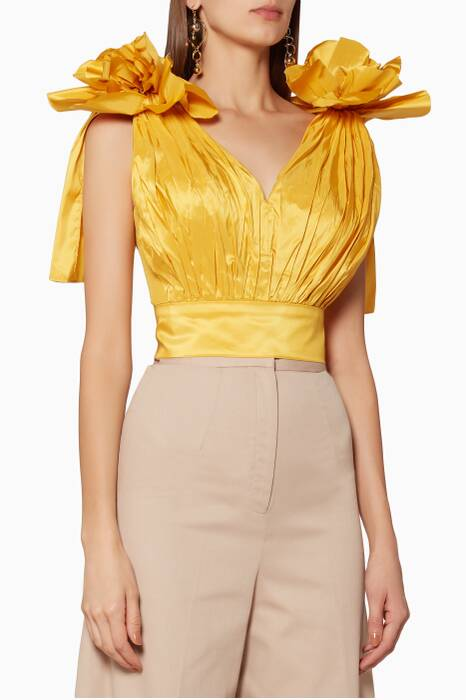 Yellow Cropped Sunflower Top