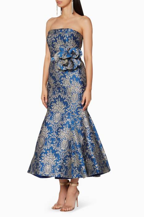 Royal-Blue Strapless Bluesar Midi Dress