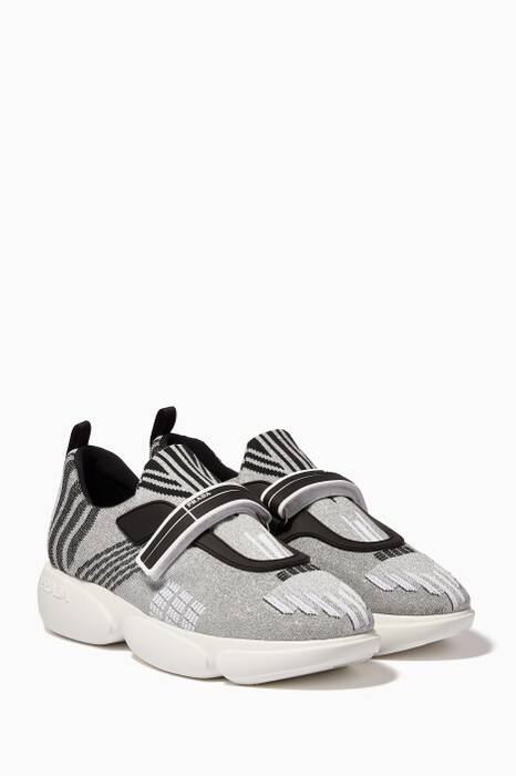 Metallic-Silver Nylon Tech Sneakers
