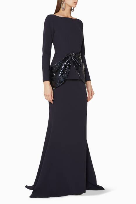Navy Simran Sequin-Embellished Gown