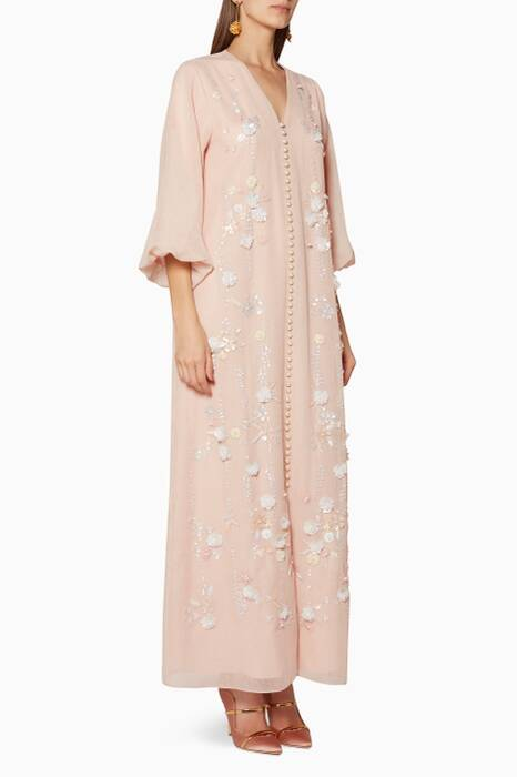 Blush Faux-Pearl Embellished Dress