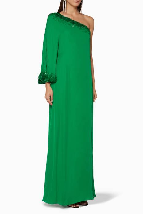 Emerald Embroidered Renee One-Shoulder Dress