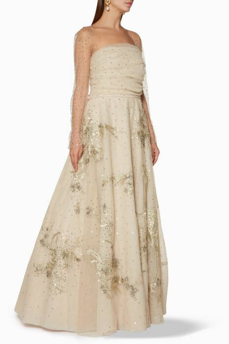 Taupe Randall Embellished Gown