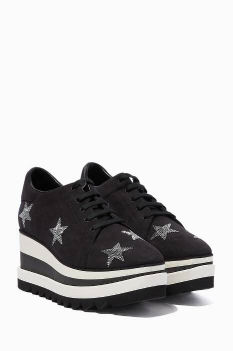Black Elyse Embellished Star Sneakers