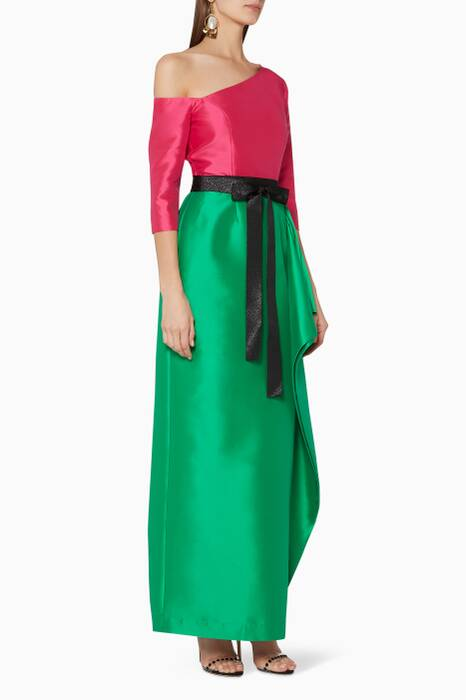 Fuchsia Pink & Green Two-Tone Gown