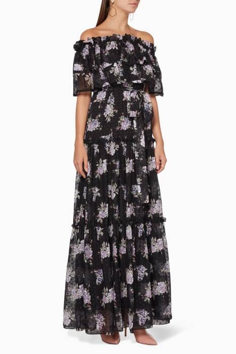 Black Floral-Print Sophia Dress
