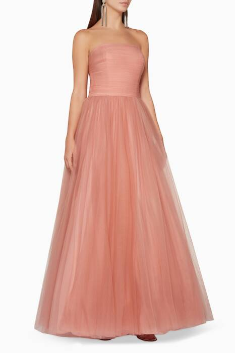 Blush Strapless Tulle-Layered Gown