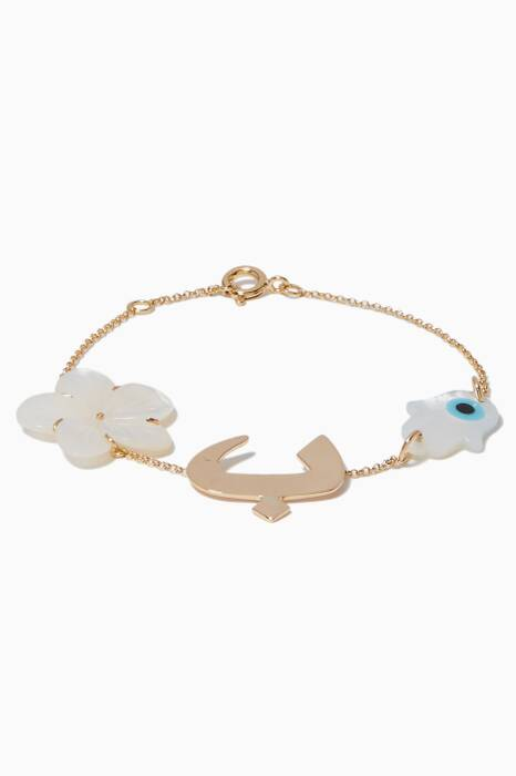 Yellow-Gold & Mother Of Pearl Charm Bracelet