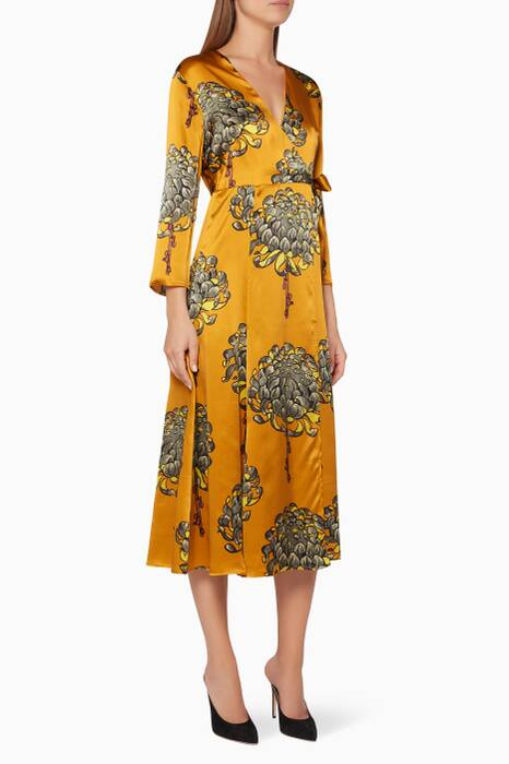 Yellow Gabrielle Printed Wrap Dress