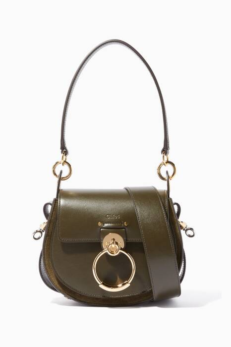 Deep-Forest Small Tess Leather Shoulder Bag