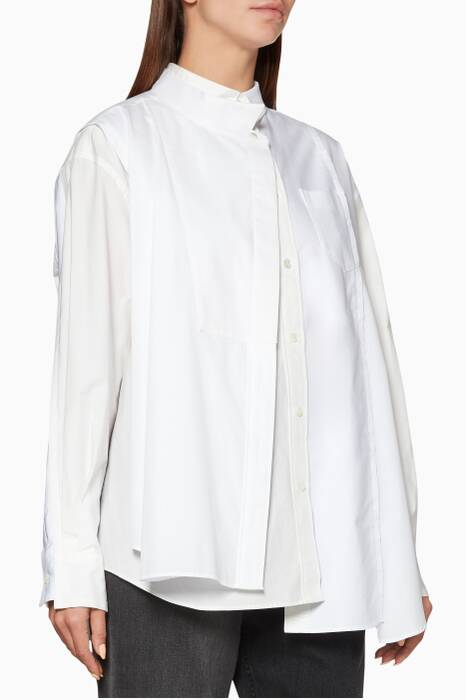 White Long Sleeve Deconstructed Shirt