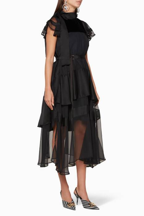 Black Shirting Midi Dress