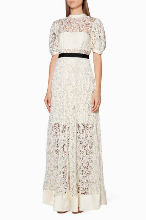 Ivory Floral Lace Balloon Maxi Dress