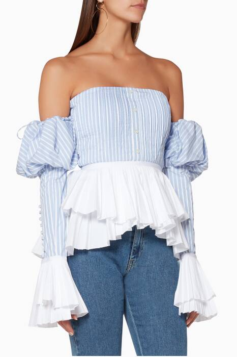 Light-Blue Pleated Oxford Bustier Top