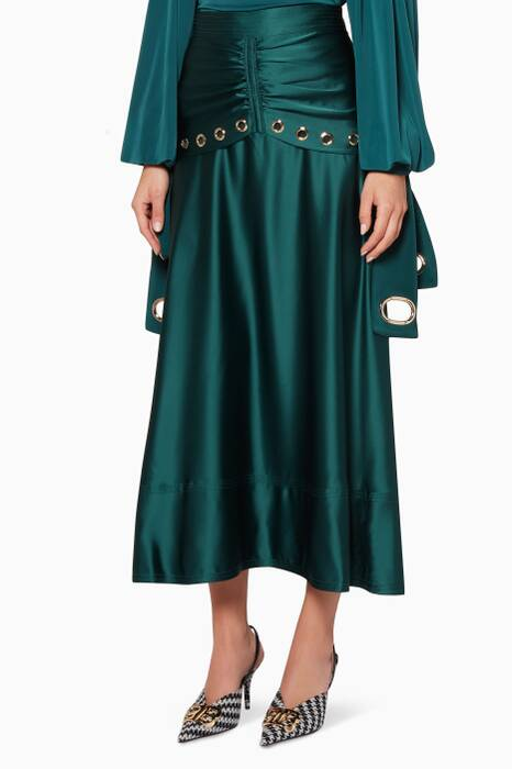 Emerald Green Satin Eyelet Midi Skirt