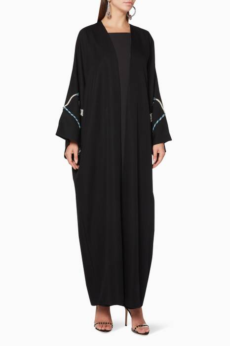 Black Embroidered Sleeve Abaya