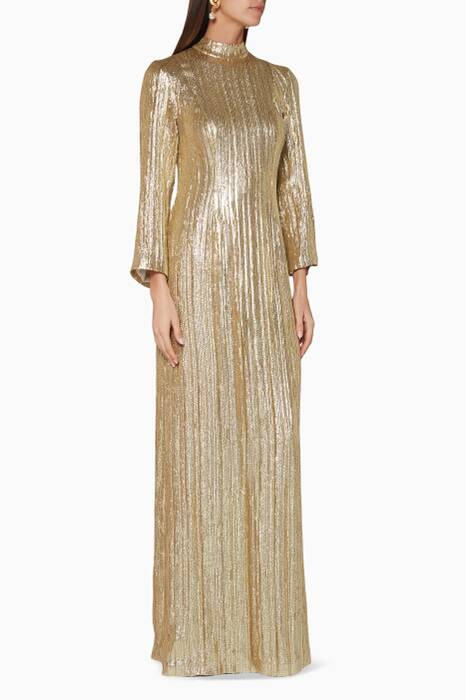 Gold Sequin-Embellished Gown