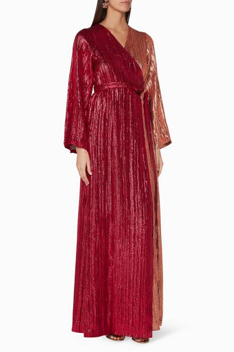 Burgundy & Copper Sequin-Embellished Wrap Dress