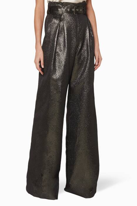 Dark-Green Lamé Belted Pants