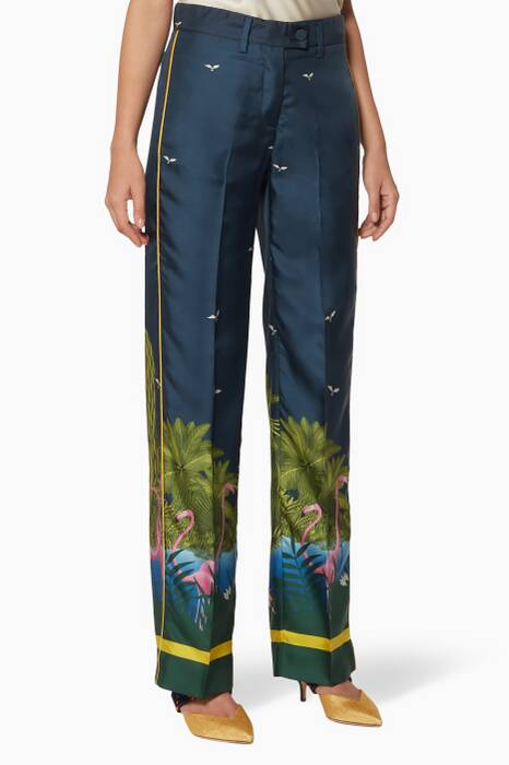Midnight-Blue Printed Zelos Pants