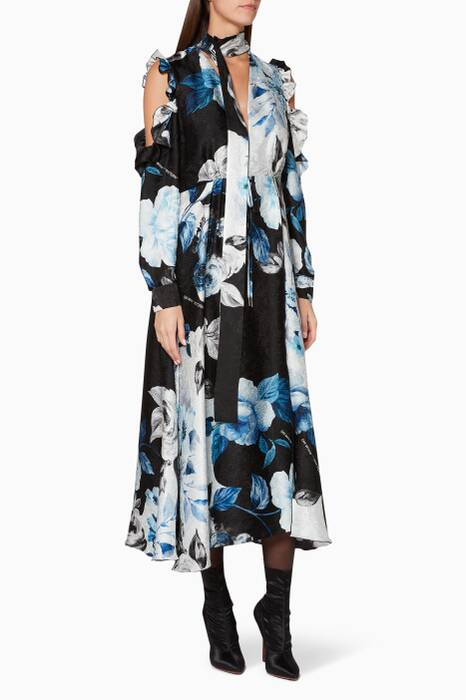 Black, White & Blue Floral Volant Dress
