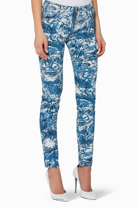 Blue Denim Tapestry Skinny Jeans