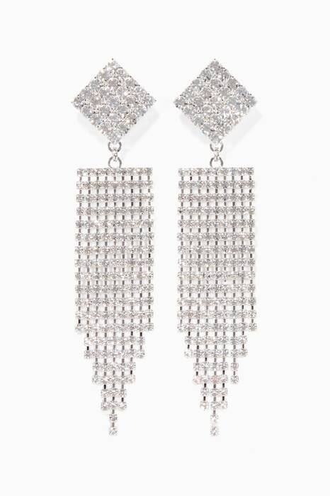 Silver Crystal-Embellished Fringe Earrings