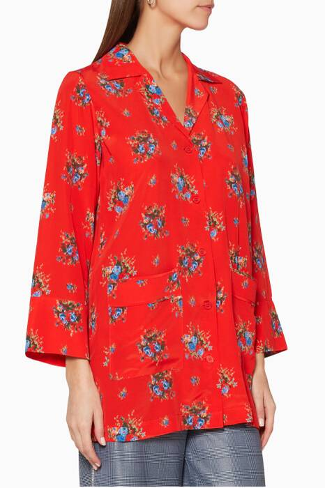 Fiery Red Floral-Print Kochhar Top