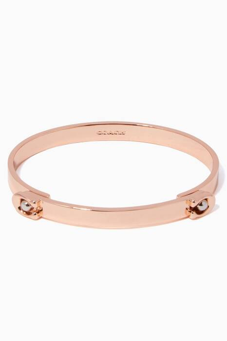 Rose-Gold Sculpted Signature Hinged Bangle