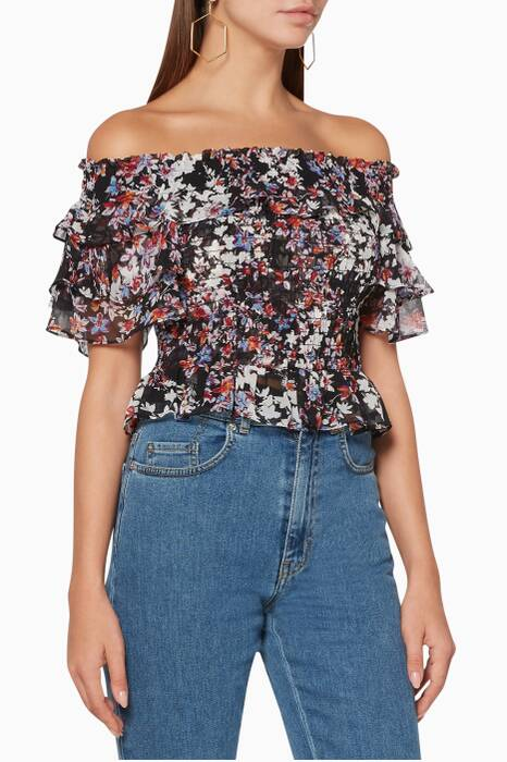 Multi-Coloured Floral-Print Behla Top