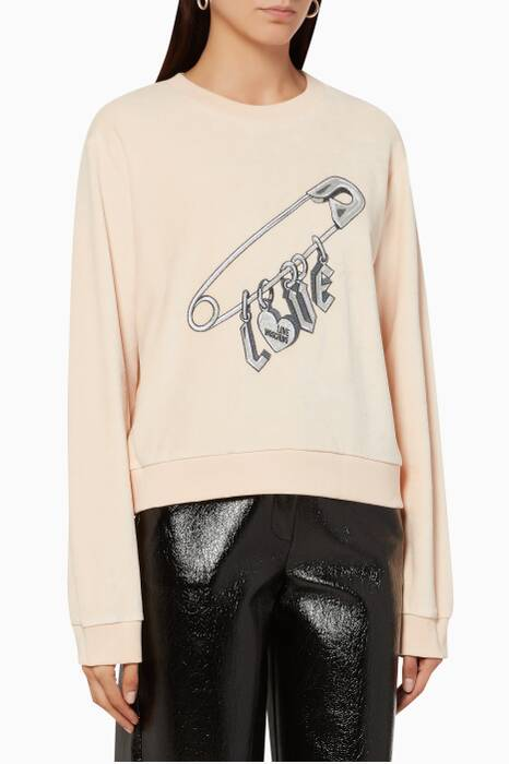 Peach Embroidered Pin Sweater