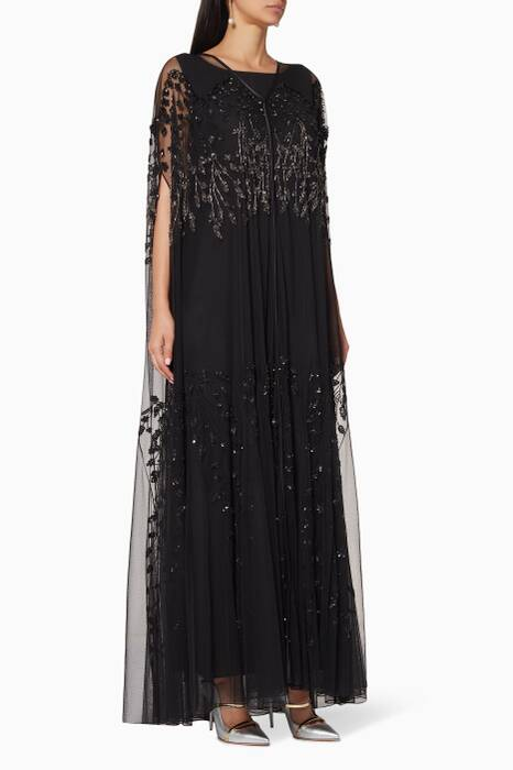 Black Embellished Slit-Sleeve Abaya