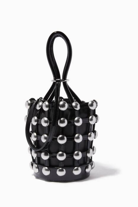 Black Mini Roxy Cage Bucket Bag
