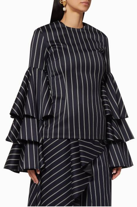 Navy Striped Ruffled Ruba Top