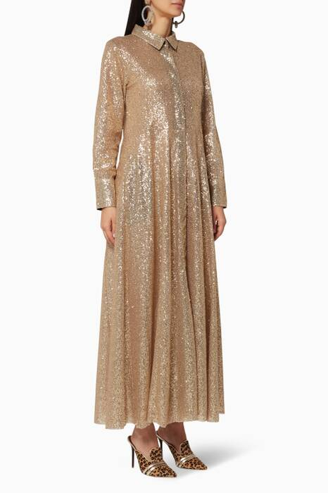 Gold Sequined Shirt Dress