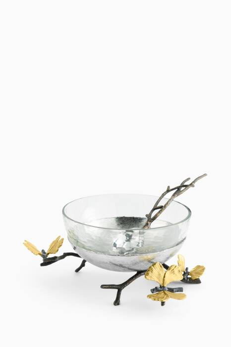 Silver Butterfly Ginkgo Nut Dish with Spoon