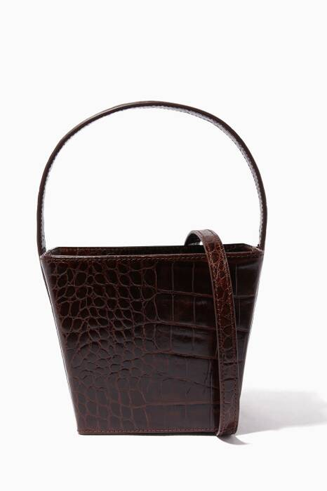 Brown Edie Crocodile-Embossed Bag